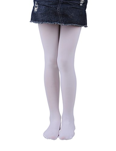 Girls Tights, Semi Opaque Footed Tights, Microfiber Comfortable Tights, Dance Tights (2-4, White) ()