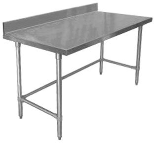 """Elkay Foodservice Chef's Choice Work Table, 24""""X30"""" OA, 36"""" Working Height, 4"""" Top, Cross Brace, Turned Down Table Edge, Stainless Legs With Adjustable 1"""" Feet, 16 Gauge 300 Series Stainless Steel, NSF Certified"""