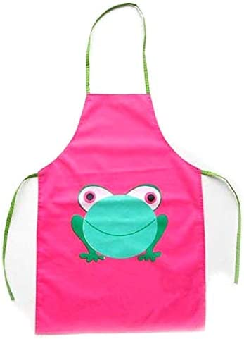 Promotion Lovely Kids Children Baby Girls Cartoon Frog Printed Waterproof Cooking Apron Pink