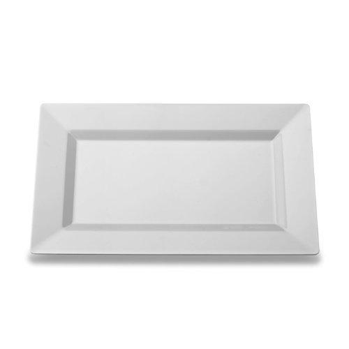 White Rectangle Dinner Plate, Plastic, Pack of 10