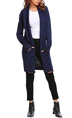 Lunga Tasche Donna Vita Giorno Giacca Monocromo Primaverile Alta Festiva Moda Cappotto Women Casual Scuro Manica Blu Con Retro Cardigan A Maglia Eleganti Outerwear Giovane Autunno AwEHXqT