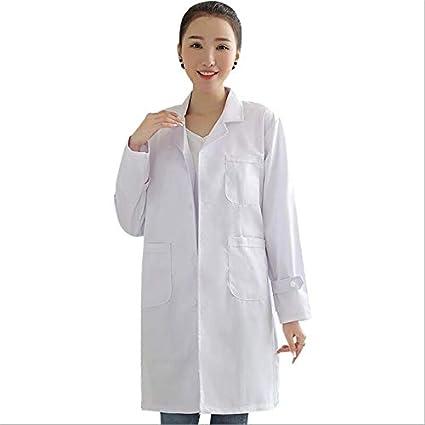 OPPP Ropa médica WICCON Mujeres de Manga Larga Bata Médica Blanca Servicios de Enfermería Uniforme Ropa