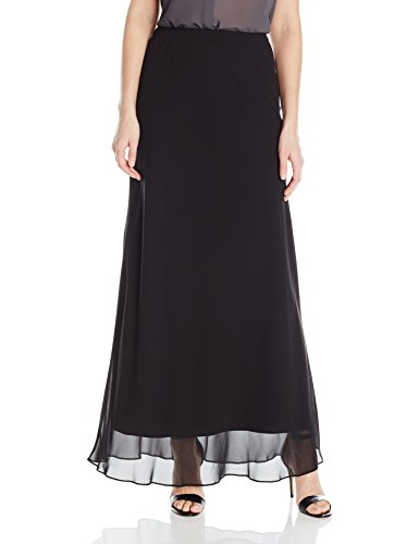 Alex Evenings Women's Long A-line Chiffon Skirt, Black, XL