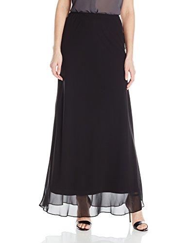 Alex Evenings Women's Long a-Line Chiffon Skirt, Black, - Alex Black
