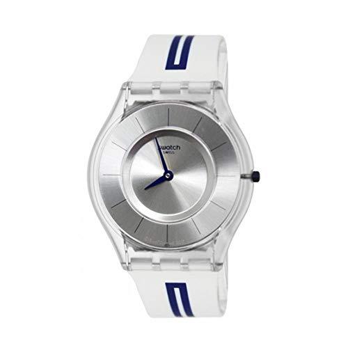 Swatch Skin Mediolino Silver Dial Silicone Strap Unisex Watch ()
