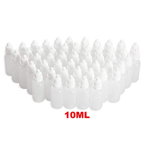0a0b7642a8d4 50PCS 10ML 0.34OZ Transparent Empty Plastic Dropping Bottles with White  Screw Cap Eyedrop Storage Holder Portable Refillable Squeezable Container  ...