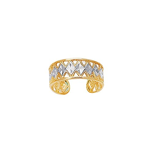 - 14k Yellow White Gold Shiny Sparkle-Cut Two-tone Cuff Type Toe Ring With Diamond Pattern
