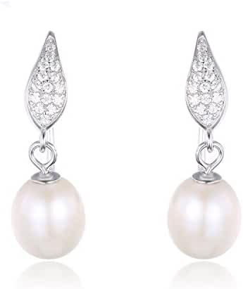 JewelryPalace White Freshwater Cultured Pearl(7-9mm) Dangle Earrings 925 Sterling Silver