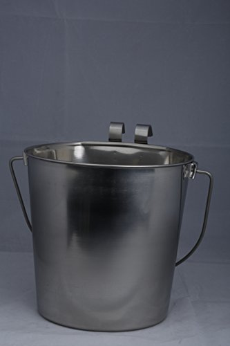 indipets heavy duty flat sided stainless steel pail, 2-quart