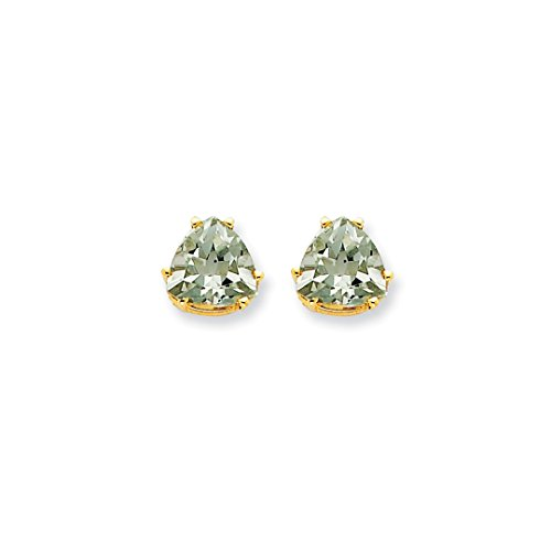 Trillion Earrings Quartz (ICE CARATS 14kt Yellow Gold 8mm Trillion Checker Cut Green Quartz Post Stud Ball Button Earrings Gemstone Fine Jewelry Ideal Gifts For Women Gift Set From Heart)