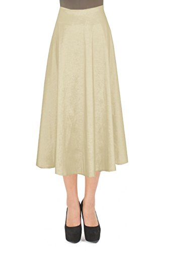 E K Women'S tea length taffeta Skirt Midi evening formal cocktail prom Skirt-4X-Champagne und by E K