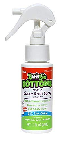 Diaper Rash Cream Spray by Boogie Wipes Bottoms, No-Rub Touch Free Application for Sensitive Skin, Over 200 Sprays per Bottle, 1.7 oz
