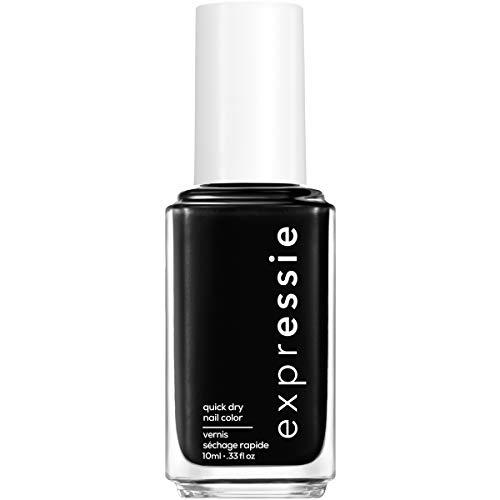 essie expressie quick-dry nail polish, black nail polish, now or never, 0.33 fl. oz.