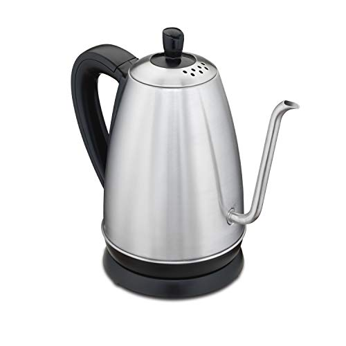 Hamilton Beach Gooseneck Pour Over Electric Tea Kettle, Water Boiler & Heater, 1.2 L, Cordless, Auto-Shutoff & Boil-Dry Protection, Stainless Steel (40899)