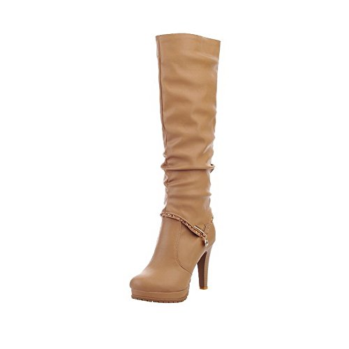 Material AmoonyFashion High top Heels High on Boots Soft Pull Women's apricot Solid nWprI