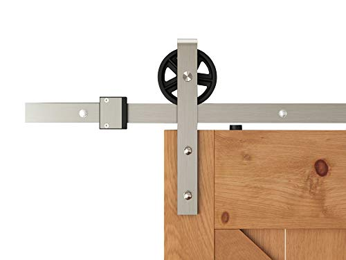 DIYHD TSQ15SN 6FT Brushed Nickel Industrial Spoke Wheel Steel Sliding Barn Door Hardware