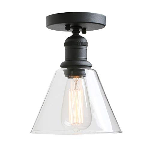 Semi Flush Mount 1 Light (Vintage Wall Sconce, Yosoan 1-Light Industrial Semi Flush Mount Ceiling Light Fixture Pendant Lighting with Funnel Flared Clear Glass Shade(Black))