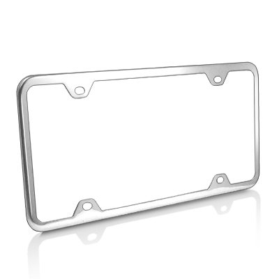 CarBeyondStore Slim Brushed Stainless Steel 4 Holes License Plate Frame