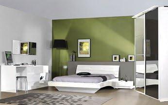 Chambre adulte complète design laquée blanche CHIARA, avec ...