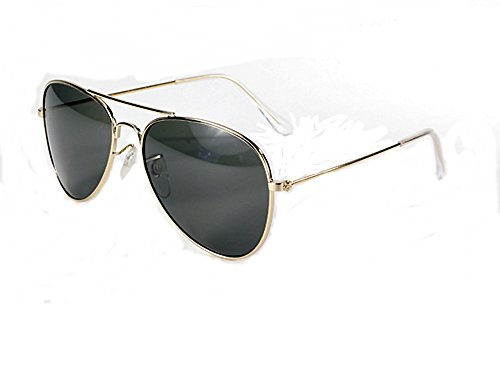Coast Pacific Sunglasses Aviator (Aviator Sunglasses Gold Wire Frame Dark Smoked G-15 Lenses Maximum UV Protection)