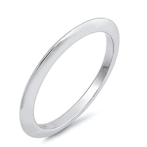 (CloseoutWarehouse High Polished Sterling Silver Knife Edge Band Ring Size 7)