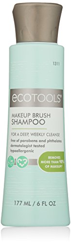 Ecotools Cruelty Free and Eco Friendly  Makeup Brush Cleansing Shampoo, 6 Ounce; Wash Away Surface Makeup, Oil, and Impurities from Brushes (Makeup Free)
