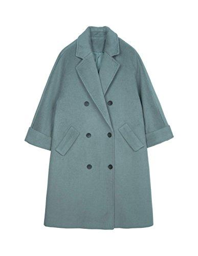 verde para y abrigos fila Doble el invierno largos la lana en Gris AP1wnqnR