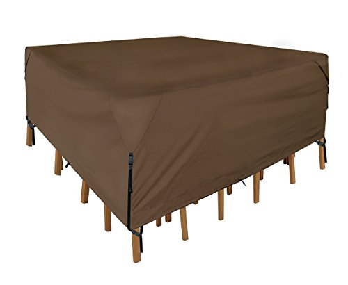 Leader Accessories 600D PVC Tough Canvas 100% Waterproof Square/Round Patio Table & Chair Set Cover size S 60''(L) x60(W) x30(H) by Leader Accessories