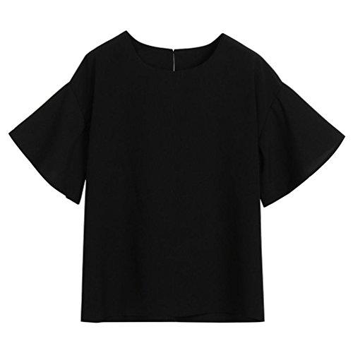Manches Coupe Noir Cou Blouse Courtes Crop Bleu Noir Sleeve Trompette Haut O Tops SOMESUN Mode Rose Slim Haut Casual Manches Shirt Flare Flare Soilde Blanc Courtes Femmes Beige wpqn764HR