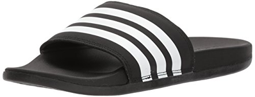 adidas Women's Adilette Cloudfoam+ Slide Sandal, White/Black, 6 M US