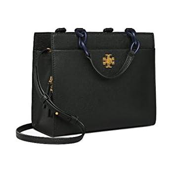 dbbdbc69bd6 Tory Burch Kira Italian leather Small Cross-Body Tote Shoulder Bag (Black)