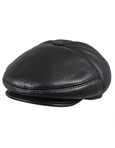 (Zavelio Men's Leather Shearling Sheepskin 5 Panel Ivy Driving Cap X-Large Black)