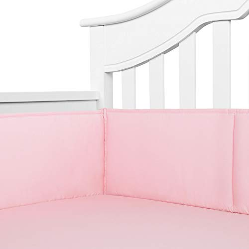 TILLYOU Cotton Collection Nursery Crib Bumper Pads for Standard Cribs Machine Washable Padded Crib Liner Set for Baby Girls Safe Bumper Guards Protector de Cuna Thick Rail Padding, 4 Piece, Lt Pink (Princess Crib Bumper)