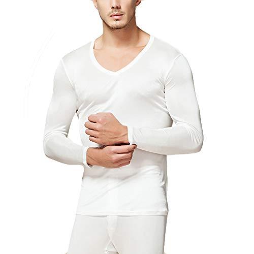 LingDooo Mens Pure Silk Winter Knit Underwear Winter Thermal Long Johns Set V Neck Silk Shirt +Pants (S(Tag L), V-White)