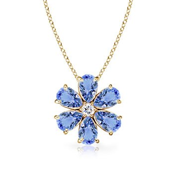 - Tanzanite Flower Cluster Pendant with Diamond in 14K Yellow Gold (6x4mm Tanzanite)