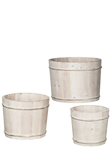 Sullivans N2090 Whitewashed Driftwood Bins, Pail Style Storage Container Buckets, White, 7 to 12 Inches Each, Set of 3