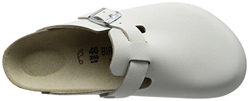 Birkenstock Boston 60101, Zuecos De Piel Natural Unisex Adulto Blanco