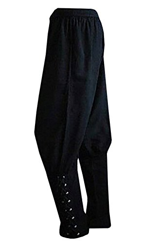 Mens Medieval Ankle Pants Viking Pirate Renaissance Costume Lace Up Tapered Banded Navigator Casual Trousers Black -