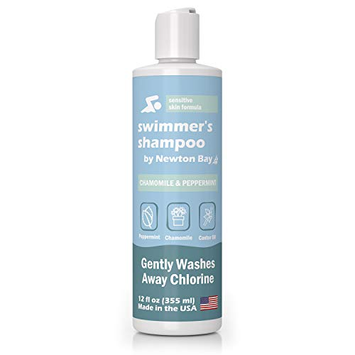 Newton Bay Swimmer's Shampoo [12oz, Peppermint] Chlorine Removal & Swimming Pool Protection for Healthy Post Swim Hair