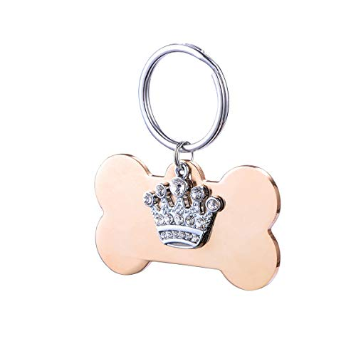 YF Bone Shaped Stainless Steel Custom Pet ID Tag Rhinestone Crown Pendant Personalized Front and Back Engraved Dog & Cat Tags ()