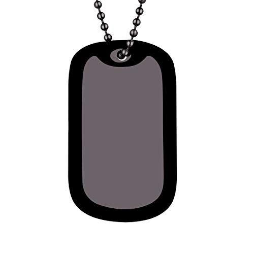 U7 Men's Medical Alert ID Dog Tag Pendant with Black Bead Chain 23