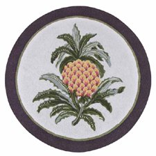 3 Feet Round Hooked Rug, Colonial Welcome Pineapple, (Williamsburg Pineapple Door)