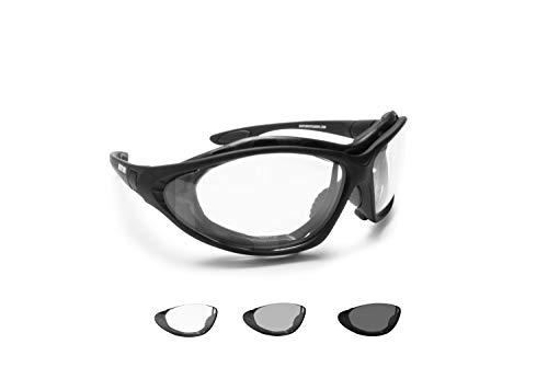 BERTONI Photochrome Motorradbrille Schutzbrille Selbsttönende Antibeschlag UV Schutz mit austauschbare Bügel oder…