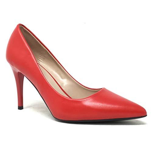 5 Sexy Cm Rouge Haut Basique Simple Mode Soirée Aiguille 8 Talon Femme Chaussure Stiletto Escarpin Angkorly qZUxwOX6X