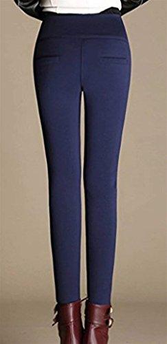 Mode marca High Autunno Eleganti Addensare Pantaloni di Solidi Leggins Matita Di Colori Waist Pantaloni Tempo Elastico Skinny Pantaloni Fashion Hot Libero Termo Invernali Collant Blau Donna wvZx7Yq8
