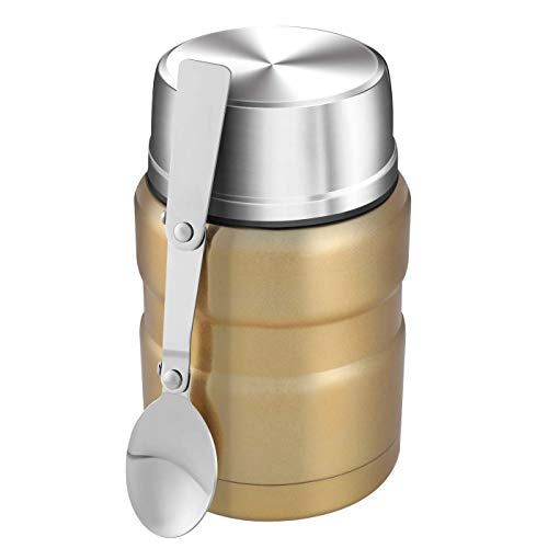 Yonhi Thermos Cups Hot Cold Drinks Thermos Insulated Cup Food Flask Thermos With Cup Lid 16 Ounce (Gold)
