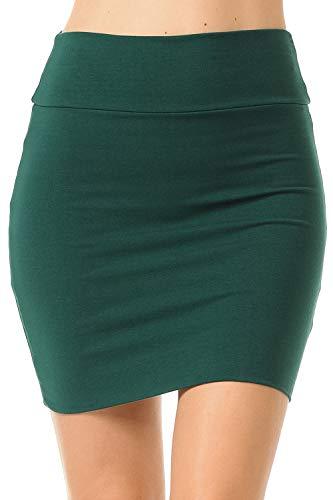 Fashion Aktiv Basic Double-Layer Cotton Simple Stretchy Tube Pencil Mini Skirt (X-Large, Hunter Green) -