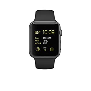 New Apple Watch Series 1 Smartwatch (Space Gray Aluminum Case, Black Sport Band)