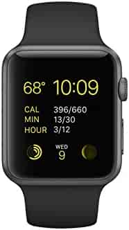 Apple Watch 42mm Space Gray Aluminum Black Sport Band