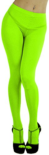 ToBeInStyle Women's Opaque Full Footed Panty Hose Leggings Tights Hosiery - Neon Green - One Size: -